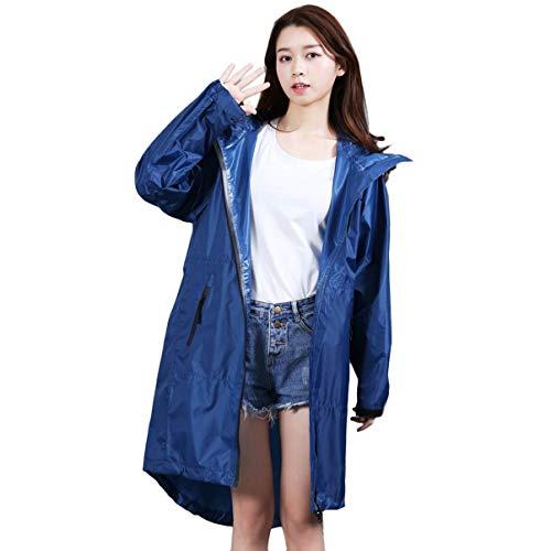 Hooded Thin Women 's Ganzkörper-Regenmantel Wandern Outdoor Travel Tragbarer Mantel Fashion Windbreaker (Farbe: Blau, Größe: F) (Mäntel Womens Größe)