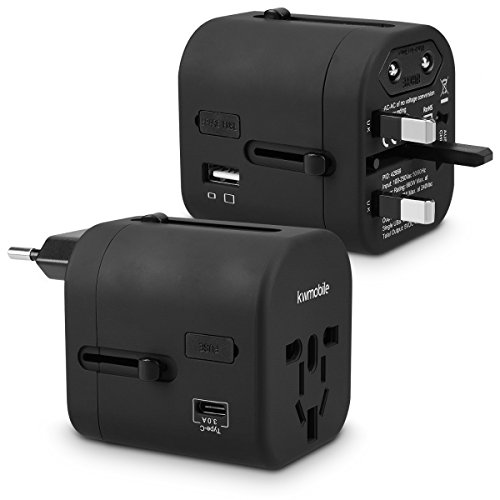 kwmobile Reiseadapter 4 USB Ports 3A Typ C Port - Universal Reise Adapter Steckdosen Stecker - Reisestecker Steckdosenadapter 150 Länder - Schwarz