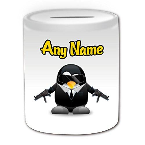 Bond Kostüm Girl (Personalisiertes Geschenk–James Bond 007Spardose (Pinguin Film Charakter Design Thema, weiß)–Jeder Name/Nachricht auf Ihre Einzigartiges–Kostüm Film Superheld Hero Agent Kurzgeschichten Secret Intelligence Service)