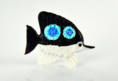 Zierfisch Schwarz Weiß Blau - Glas Figur Korallenfisch s - 17 - Glasfisch Deko Aquarium