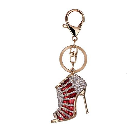 aaa-un-strass-talon-haut-pendentif-charm-porte-cles-avec-fermoir-mousqueton-metal-red