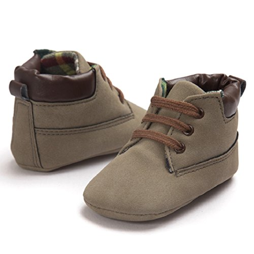 Lauflernschuhe,Amcool Weiche Sohle PU Leder Luxus Säugling Junge Mädchen Kleinkind-Schuhe (Alter:3-6 Monate, Weiß) Braun