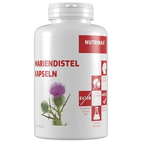 Mariendistel Kapseln - 80% Silymarin - 240 Kapseln Mariendistel Extrakt - ohne Magnesiumstearat - Made in Germany