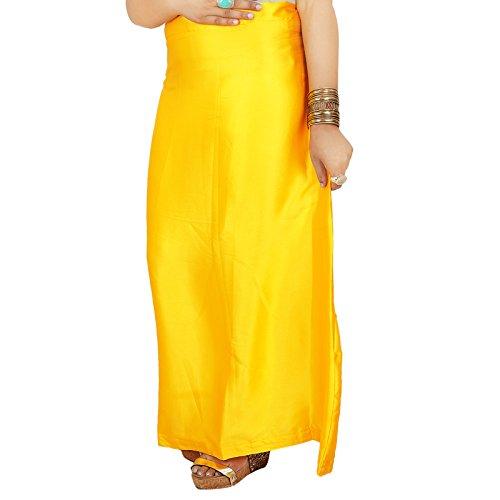 Sari indiano in raso, seta, solido rivestimento, sottogonna, regalo sari per lei Giallo