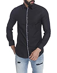 Jack & Jones Mens Casual Shirt (5713238102907_12117132Black_Medium)