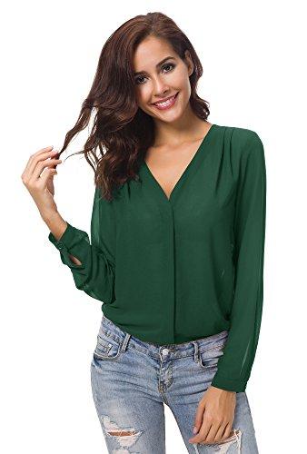 Urban goco donne camicette manica lunga pieghe chiffon con scollo v colore puro camicia blusa verde m