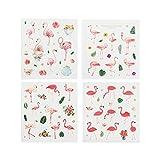 CAOLATOR 4 Blatt Sticker Aufkleber Flamingo Bronzing Sticker Papier Deko Sticker für Kinder Mädchen