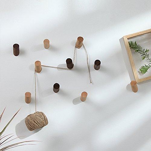 ZONYEO Ganci appendiabiti da parete in legno naturale 2PCS vintage ...