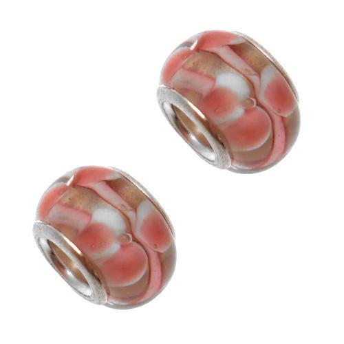 Acosta-Clear & White perle in vetro di Murano, colore: rosa, sistema Slide-On-Off & Bracciale con Charms, confezione da 2 pezzi, placcato argento