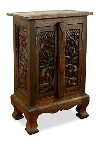 livasia Kleiner Massivholzschrank mit eleganter Elefantenschnitzerei, Kommode der Marke Asia Wohnstudio, Nachtschrank