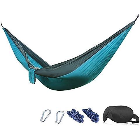 Amaca–210T Nylon per Paracadute Amaca da campeggio resistente, con mascherina per occhi 3d, corde, Moschettoni, SkyBlue/Gray, 275x140cm