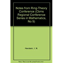 Notes from Ring-Theory Conference (Cbms Regional Conference Series in Mathematics, No 9)