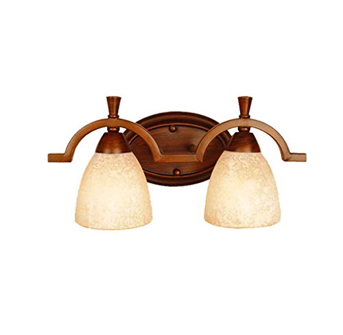 Energie sparen Spiegel vorne Lichter, American Style Korridor Einfache Retro Schlafzimmer Kamm Tisch Spiegel Frontlicht E14 Dauerhaft (größe : 2 head) -