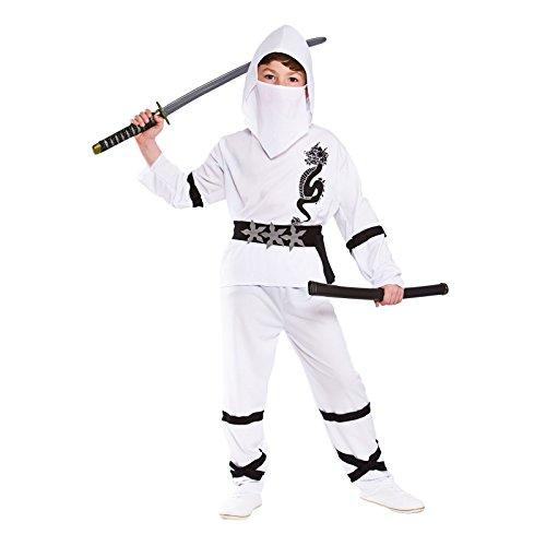 Power Ninja - White Kids Fancy Dress (White Ninja Kostüme)