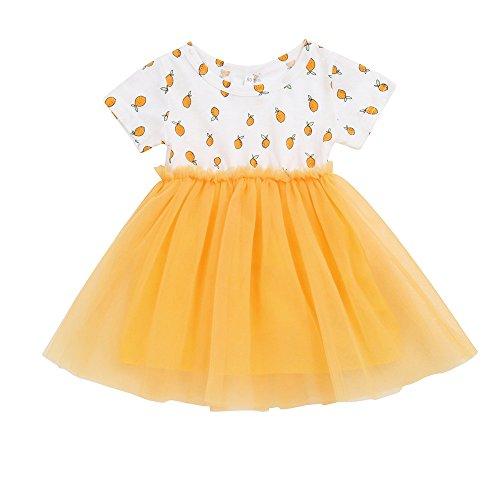JUTOO Kinder Infant Kid Mädchen Zitrone Print Net Garn Princess Party Dress Clothes ()