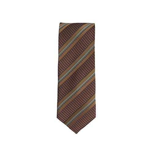 Silk classico cravatta seta marrone oro a strisce 8,5 (Oro A Strisce Cravatta)