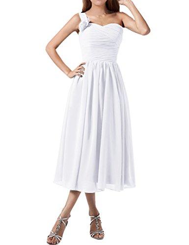Find Dress Plissé Robe Soirée Grande Taille pour Cérémonie Femme Mariage avec Bretelle Asymétrique Robe Demoiselle d'Honneur Mi Longue Princesse Fête Noel Wedding Dress Blanc
