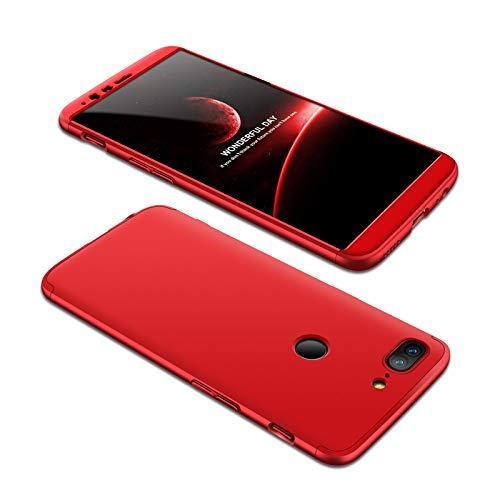 Funda Compatible Oneplus 5 AChris 3 en 1 Completa Protectora Carcasa con Cristal Templado PC Case Ultra-Slim Absorción de Choque Resistente [Compatible con Carga Inalámbrica]- Rojo