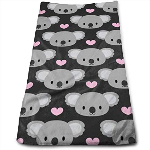 Osmykqe Cute Koalas and Pink Hearts Microfiber Personalized 3D Design Pattern Towel, Can Be Used for Hair Towel, Beauty Towel, Sports Towel, Car Towel, Furniture Towel,12x27.5'in
