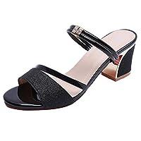 Bling Rhinestone Peep Toe Sandals,PAOLIAN Summer Women Girls Mid High Block Heel Chunky Slippers Casual Glossy Shoes