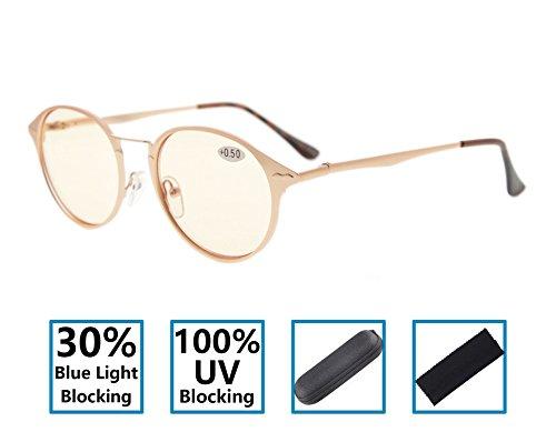 Gr8sight 30% di blocco luce blu, 100% uv protezione cerniere a molla tonde colorate spec. occhiali da lettura per computer uomini / donne oro +2.75
