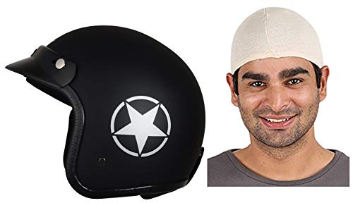 Autofy O2 Front Open Helmet (Black and Grey, M) and Autofy Unisex Multipurpose Hair Protector Dust Pollution Skull Cap (Beige) Bundle