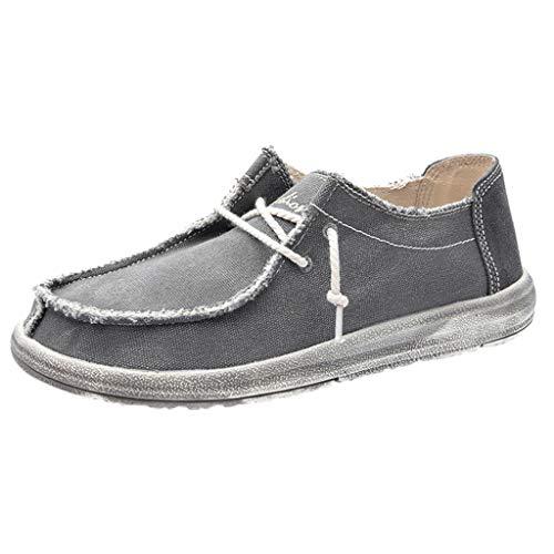 Herren Freizeitschuhe, Müßiggänger rutschfest Segeltuchschuhe Flache Schuhe Stretch Tuch Schuhe Bequem Leichtgewicht Laufschuhe Turnschuhe Fitnessschuhe Sneaker Atmungsaktiv42 EU(Grau) -