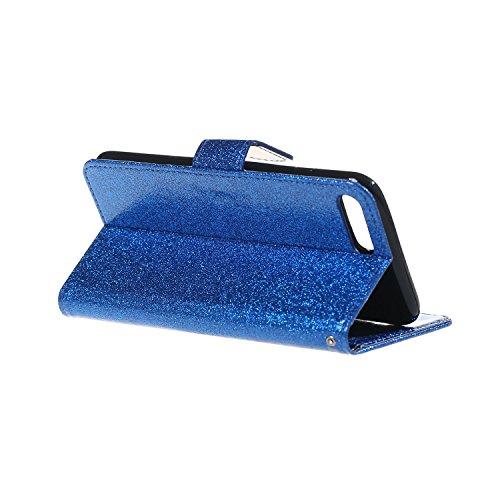 iPhone 7 Plus Hülle,iPhone 7 Plus Handyhülle iPhone 7 Plus Wallet Case Cover Tasche [Flash Pulver] Brieftasche Flip Hülle im Bookstyle Cover Schale Etui Karten Slot Schutzhülle Für iPhone 7 Plus Leder Blau