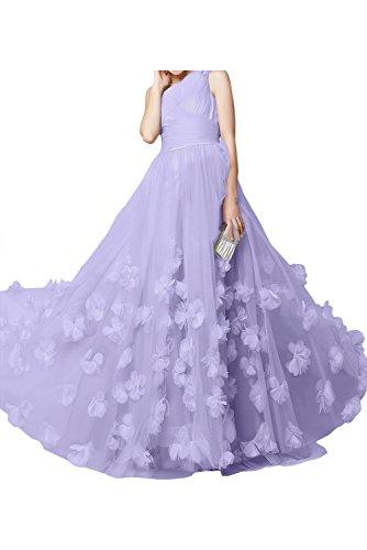 TOSKANA BRAUT Damen 2017 Silver Tuell Blumen Ein-Traeger Falte Promkleider Abendkleider Lang Party Ballkleider Lavender