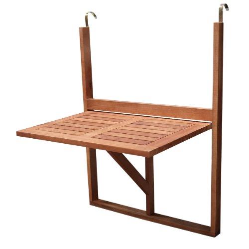 DEGAMO Balkonhängetisch 60x40cm klappbar, Eukalyptusholz, FSC®-zertifiziert