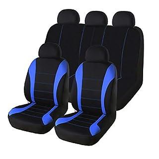 AUTO HIGH Autositzbezüge Set Universal - Auto-Schonbezüge für die Vordersitze & Rückbank mit Airbag - Polyester Auto-Sitzschoner Komplettset, 11-teilig, Blau