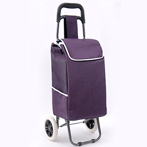 Einkaufswagen Einkaufstrolley Kleine Zugwagen Falttreppe Tragbares Handgepäck Auto Anhänger (Farbe : Lila)