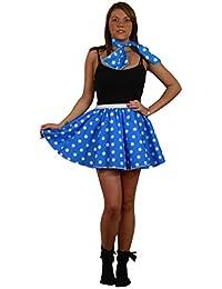 """Royal Blue White Polka Dot 15"""" Cheer Leader Roller Darby Skater Skirt"""