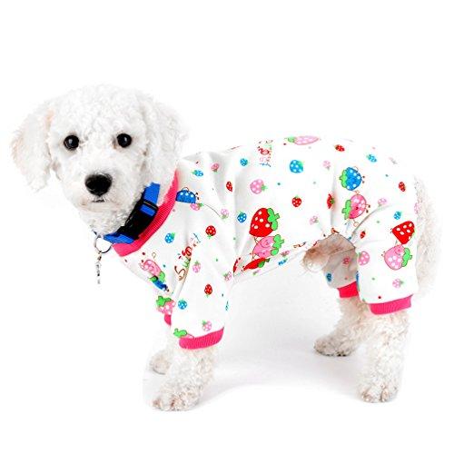 selmai Schlafanzüge für kleine Hunde Katzen Fleece gefüttert Strawberry Puppy Hund Innen Outfits Jumpsuit Winter Yorkie Chihuahua Kleidung (Donut Für Hunde Kostüm)