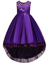 Kids Big Girls Princess Dress Floral Decor Sleeveless High Low Hem Tulle Dresses Bridesmaid Wedding Communion