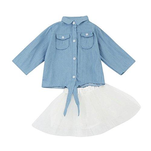 Longra Kleinkind Baby Kinder Mädchen Kleid mit Langarm Jeans Hemd Shirts + Tutu Rock Kleid Set Kinder Outfits Kleidung Kinder Mädchen Prinzessin Jeanskleid (0-3Jahre) (80CM 12Monate, Blue)