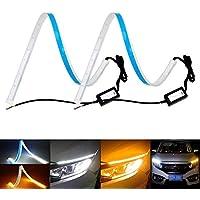 SODIAL 1 Coppia 6W 6000K Impermeabile Xenon Bianco COB Sottile Drl LED Daytime Running Light per Auto Nero, Giallo