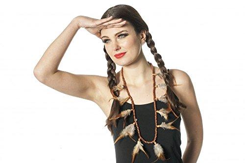Indianer Hals-Schmuck mit braunen Perlen und Federn Hals-Kette Indianerin Squaw