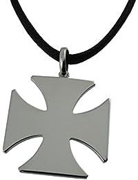 Arfasatti Pendentif Croix de Malte Grand en Argent 925 Fait à la Main en Italie