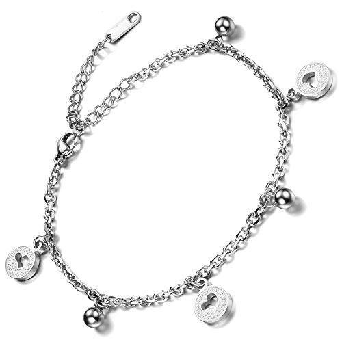 Flongo Bracelet de Main Cheville Acier Inoxydable Lien Poignet Coeur Perle Rond Charme Elegant Chaine Fantaisie Bijoux Cadeau Couleur Argent Rose Or pour Femme Argent