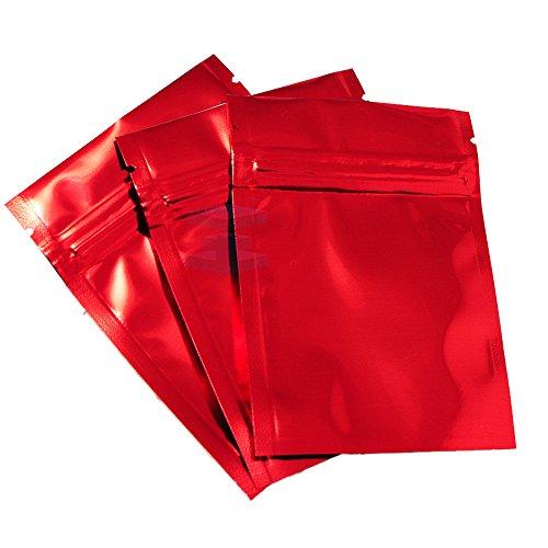 Geruch frei Mylar Typ Starke Grip Wiederverschließbare Beutel Flache Tasche Rot, Silber Folie innen–7,5cm x 10cm (Silber Folie Beutel)
