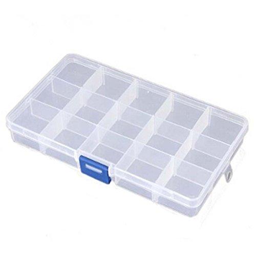 G for U Boîte de rangement pour perles avec compartiments ajustables Transparent 15/24/36 casiers