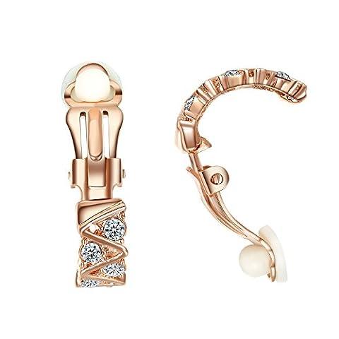 Yoursfs ohrclips zirkonia von Künstliche Diamente /Einfache Kristallwelle Ohrclips mit 18K Gold Überzogene Kleid Schmuck