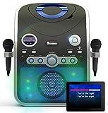 Máquina de karaoke Bluetooth CDG / MP3G / USB. Luces de discoteca incorporadas. 240 canciones. 2 micrófonos