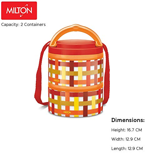 Milton Microwow 2 Insulated Tiffin with Inner Steel, 250 ml, 2-Pieces, Orange