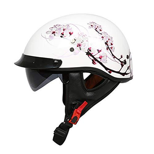 Motorrad offeneGesicht Halbhelm, Dot Zertifizierung Frp Retro Harley Motorrad Crash Helm mit eingebauten Sonnenbrille für Erwachsene Jugend Männer Frauen,K,L