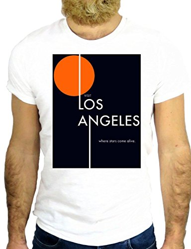 T SHIRT Z0877 LOS ANGELES AMERICA COOL CALIFORNIA VINTAGE HIPSTER HIP HOP GGG24 BIANCA - WHITE