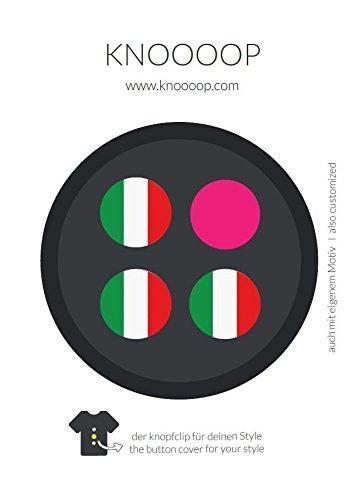 HOWADO GmbH KNOOOOP Knopfclip 3er Set - Dein Style für Hemden & Blusen für Büro, Business, Messen, Vereine und Freizeit mit Motiven für Fussball, EM Italien