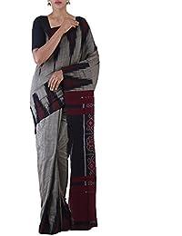 Unnati Silks Women Grey-Black Pure Handloom Sambalpuri Cotton Ikat Saree(UNM22032)
