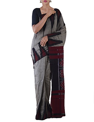 Unnati Silks Women Grey-Black Pure Handloom Sambalpuri Cotton Ikat Saree(UNM22032)